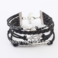 New 2014 Hot sale Handmade Braided  Fashion multilayer braided leather silver  cuff Bracelets & Bangles Free shipping