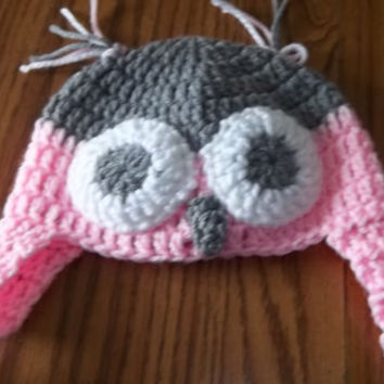 Owl hat, baby's hat, three to six months, ear flap hat, winter hat, pink,gray and white, animal hat