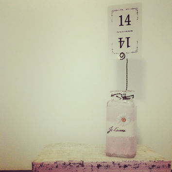 Table Numbers,Pink Wedding,Wedding Vase,French Country Wedding,Small Glass Bottle,Shabby Chic