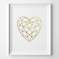 Gold Heart Print, Modern Valentines Day Decor, Minimalist Art, Faux Gold Foil Faceted Heart, Geometric Art, Gold and White Modern Bedroom