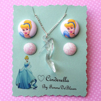 Handmade Princess Cinderella Inspired Earring and Necklace Set - Glass Slipper - Disney Princess Inspired Jewelry