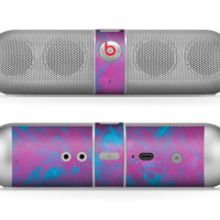 The Purple and Blue Paintburst Skin for the Beats by Dre Pill Bluetooth Speaker
