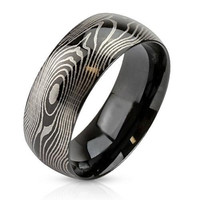 Prints Charming - FINAL SALE Black IP stainless steel etched finger print design men's ring