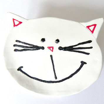 Cat Ceramic Plate Dish Spoon Rest by Ceraminic on Etsy
