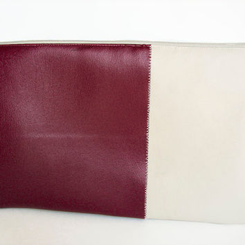 Faux Leather Clutch Color Block purse  Burgundy with by Stoic