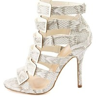 Python Print Strappy Cut-Out Heels by Charlotte Russe