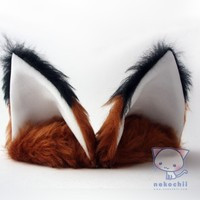 Cosplay Fox ears (Kitsune mimi) Red fox with ebony tips and white inners or choose your own colours.