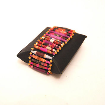 Purple recycled paper and wooden bead wristband bracelet with stretch elastic rubber band in a gift box