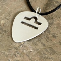 Aluminum guitar pick necklace with personalized zodiac cut out
