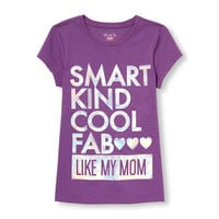 Girls Short Sleeve 'Smart Kind Cool Fab Like My Mom' Foil Graphic Tee | The Children's Place