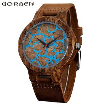 Fashion Blue Staggered Stripes Watchface Quartz Wood Watch With Soft Leather Band Round Shape Wooden Case Men's Watch