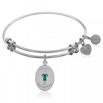 ac NOVQ2A Expandable Bangle in White Tone Brass with Son Of A Nutcracker Symbol