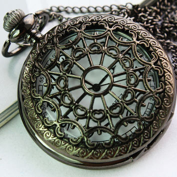 1PC Antique Bronze Pocket Watch Necklace Chain Pendant Long !ONS = 4482089668
