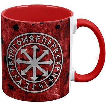 Viking Warrior Chaos Symbol Red Handle Coffee Mug