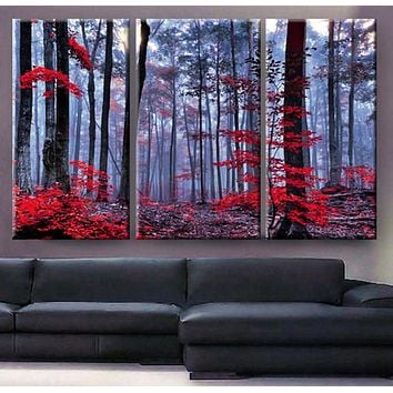 Art Canvas Print beautiful Forest trees autumn fog morning Wall home decor interior
