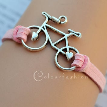 Christmas Gift, Bicycle bracelet, Antique Silver bicycle Charm, Pink Cords Bracelet, Silver Jewelry, Charm Bracelet, Personalized