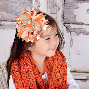 Thanksgiving Bow, Fall Bow, Autumn Bow, Burlap Bow, Birthday Gift, Fall Photo Prop, Fall Hair Accessories