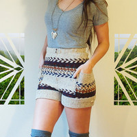 High waisted folk hipster boho fairisle shorts by myHOMEBYTHESEA
