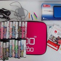 Lot of Blue 3DS XL Game Console Case and  21 Games Girls Educational Charger