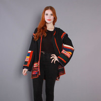 80s South American ETHNIC Cotton JACKET / 1980s Oversized Woven & Embroidered Guatemalan Duster
