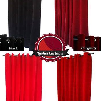 Flocked Velvet Curtain 96 inch Long Panel w/Metal Grommet Top Eyelets Large Window Treatments, Extra Wide Custom Made Event Drapery/Drapes