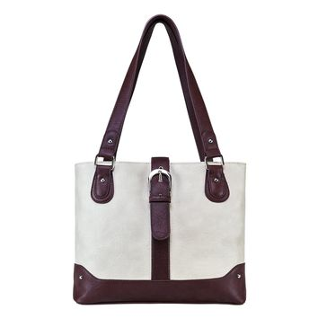Shoulder Bag Constructed of Faux leather with two CCW compartments - Off White