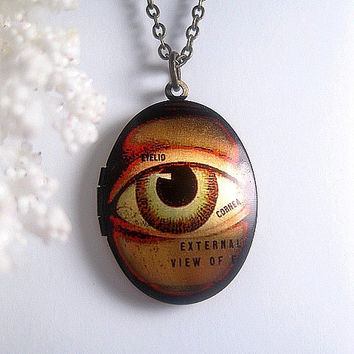 Human Eye Necklace Locket - Oval - Eyeball - Creepy - Choose Your Chain Length