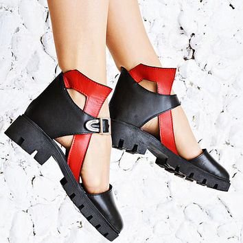 Black and Red Genuine Leather Shoes, Ankle Leather Sandals TBT13, Genuine Leather Sandals by Teyxo