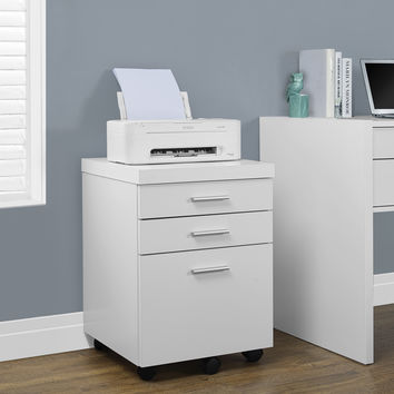White Hollow-Core 3 Drawer File Cabinet On Castors