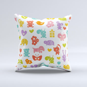 Furry Fun-Colored Critters Pattern ink-Fuzed Decorative Throw Pillow