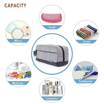 WodKeis Toiletry Bag Travel Cosmetic Bag, Made with Quality Nylon and PU Leather, Portable and Roomy and Rugged and Water Resistant Shaving Dopp Kit for Travel, Gym, Grooming Makeup Bag for Men/Women