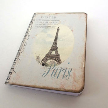 Paris Notebook, Travel Journal, Shabby Paris Diary, Eiffel Tower, Cottage Chic, Pale Blue Stripes, French Journal, Altered Art Journal