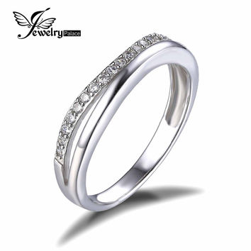JewelryPalace Classic 925 Sterling Silver Cubic Zirconia Anniversary Wedding Contour Guard Band Ring 2016 Fine Jewelry For Women