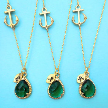 Set of 5-10, Personalized, Letter, Initial, Sideways, Anchor, Nautical, Emerald, Green, Glass, Stone, Gold, Silver, Necklace, Gift, Sets