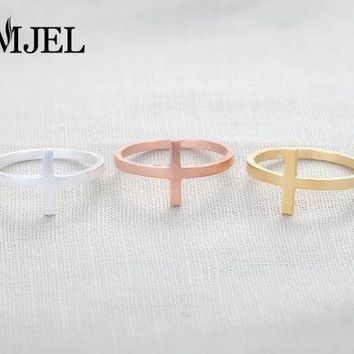 SMJEL 10 PCS/lot-R048 Sideways Cross Ring   Simple midi rings,cool rings,religious rings