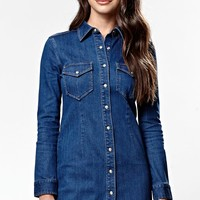 Kendall & Kylie Long Sleeve Button Front Denim Dress - Womens Dress - Blue