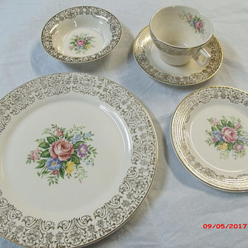 5 pc Place Setting X 40 Limoges China Huge Set Triumph Rosalie Limoges Huge Set Limoges Wedding China Fine China Formal Dining Dish Set Huge
