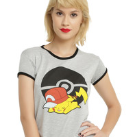 Pokemon Pikachu Sleeping Girls Ringer T-Shirt