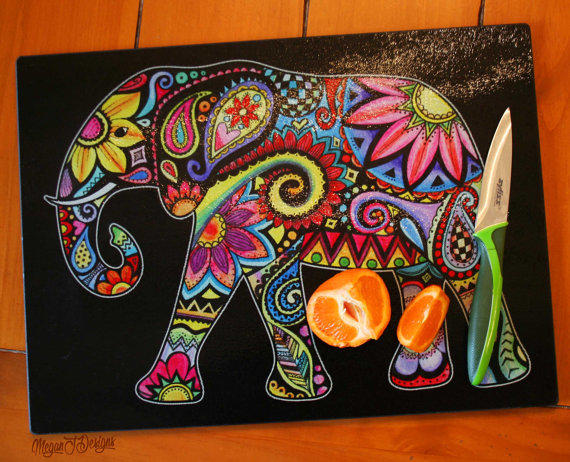 Elephant glass cutting board tempered from meganjdesigns Colorful elephant home decor