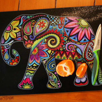 Elephant Glass Cutting Board Tempered Glass Kitchen Chopping Board Colorful Elephant Home Decor Hippie Boho Art Design Flowers Cutlery Gift