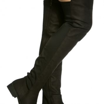 Black Faux Suede Two Toned Thigh High Boots @ Cicihot Boots Catalog:women's winter boots,leather thigh high boots,black platform knee high boots,over the knee boots,Go Go boots,cowgirl boots,gladiator boots,womens dress boots,skirt boots.