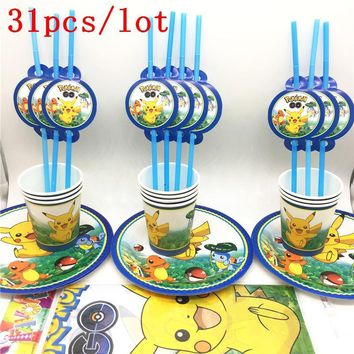 Go Cartoon Theme 31Pcs Kids Birthday Decoration Tablecloth Straws Plates Cups Party Supplies For 10 Persons For PartyKawaii Pokemon go  AT_89_9