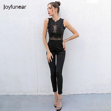 Sexy Fashion Lace stitching Jumpsuit Women Club Night Playsuit Long Sleeveless back zipper Women Boysuits Hollow Out Romper
