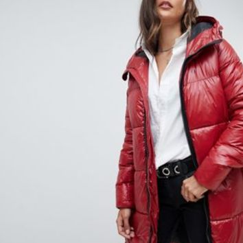 G-Star high shine long line padded jacket at asos.com