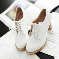 casual sweet single shoes thick heel pumps