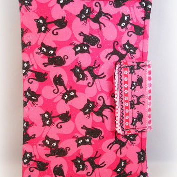 Cat Kindle Fire Cover Cute Kindle Fire Case Kindle Fire HD Cases Cats Butterflies Pink and Black