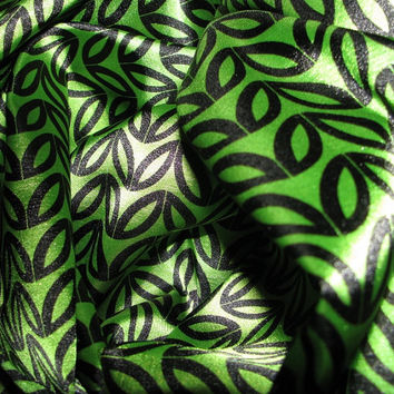 "Printed Satin Fabric Green Leaf Charmeuse 60"" Wide by the yard"