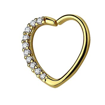 BodyJ4You 16G (1.2mm) Daith Earring Paved Clear CZ Heart Goldtone Tragus Helix Cartilage Hoop Body Jewelry