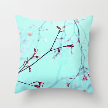 "FREE SHIPPING Pink Spring Buds on Aqua Blue Green Sky - 16 x 16"" Throw Pillow Cover - Ready to Ship"