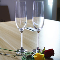wedding wine glasses personalized crystal